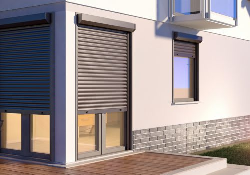 Modern Brown Roller Shutters Night - Roller Shutter People