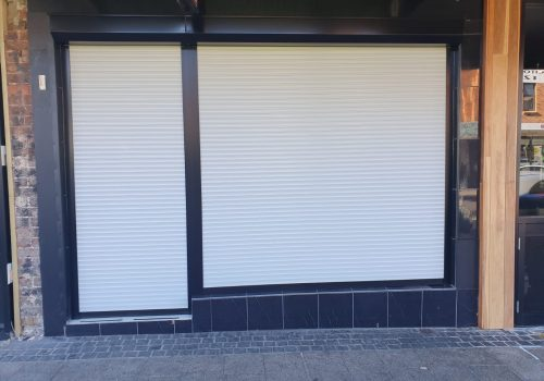 Shopfront Roller Shutter Job White Modern Shutters - Roller Shutter People